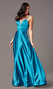 Image of satin v-neck long prom dress with pockets. Style: TE-PL-9135 Detail Image 3