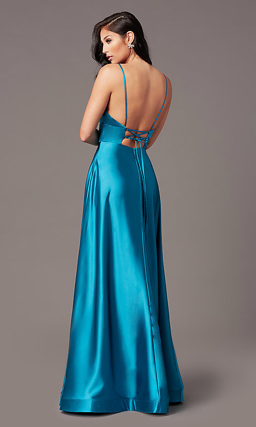 Image of satin v-neck long prom dress with pockets. Style: TE-PL-9135 Detail Image 4