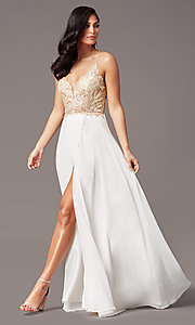 Image of v-neck long backless prom dress in ivory gold. Style: TE-PL-9140 Front Image