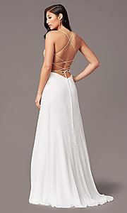 Image of v-neck long backless prom dress in ivory gold. Style: TE-PL-9140 Back Image