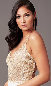 Image of v-neck long backless prom dress in ivory gold. Style: TE-PL-9140 Detail Image 1