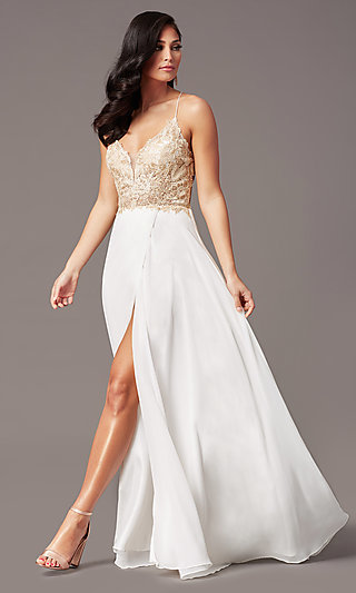 V-Neck Long Backless Prom Dress in Ivory Gold