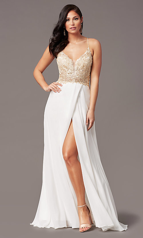 Image of v-neck long backless prom dress in ivory gold. Style: TE-PL-9140 Detail Image 2