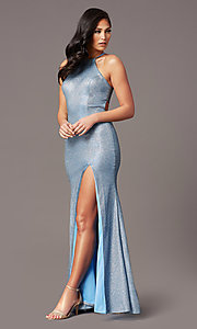 Image of electric blue long glitter formal prom dress. Style: TE-PL-9115 Front Image