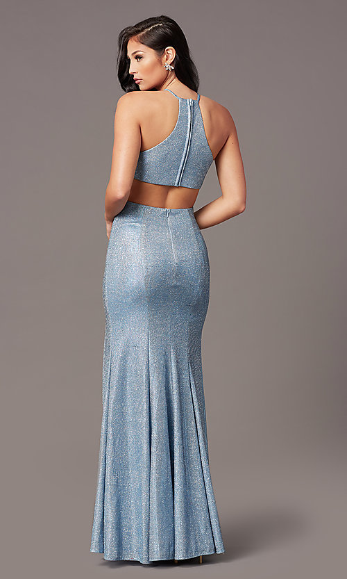 Image of electric blue long glitter formal prom dress. Style: TE-PL-9115 Back Image