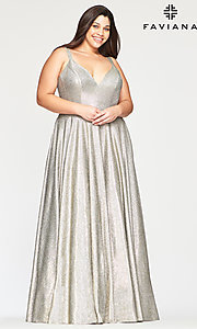 Shop silver and gold glitter plus prom dress with pockets. Style: FA-9493 Front Image