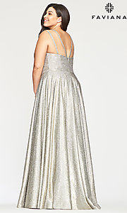 Shop silver and gold glitter plus prom dress with pockets. Style: FA-9493 Back Image