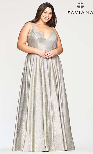 Plus V-Neck Glitter Prom Dress with Pockets