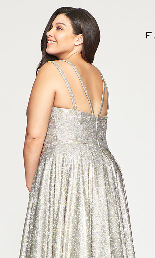 Shop silver and gold glitter plus prom dress with pockets. Style: FA-9493 Detail Image 2