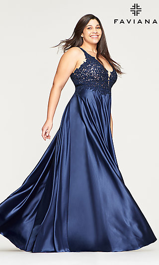 Long Plus-Size Prom Dress with a Sheer Bodice