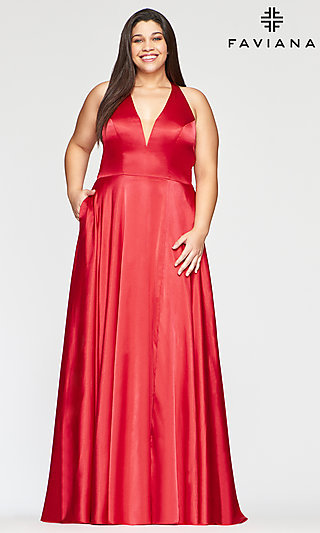 Long Open-Back Plus-Size Red Prom Dress by Faviana