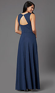 Image of faux-wrap glitter-knit navy formal long prom dress. Style: MCR-PL-2653 Back Image