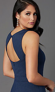 Image of faux-wrap glitter-knit navy formal long prom dress. Style: MCR-PL-2653 Detail Image 2