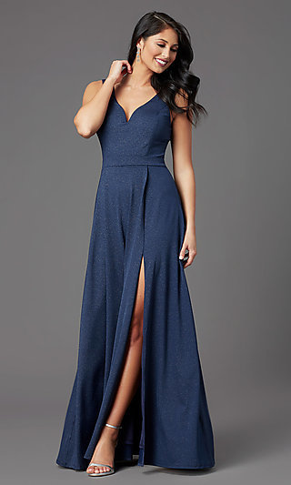 Faux-Wrap Glitter-Knit Navy Formal Long Prom Dress