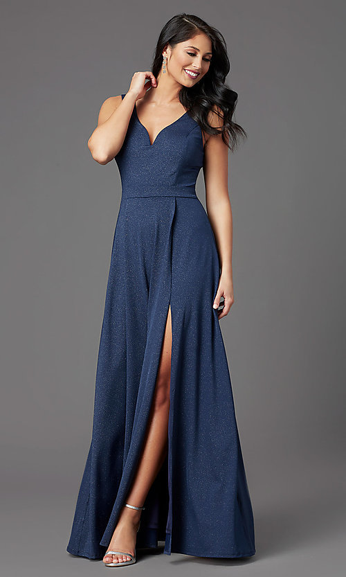 Image of faux-wrap glitter-knit navy formal long prom dress. Style: MCR-PL-2653 Front Image