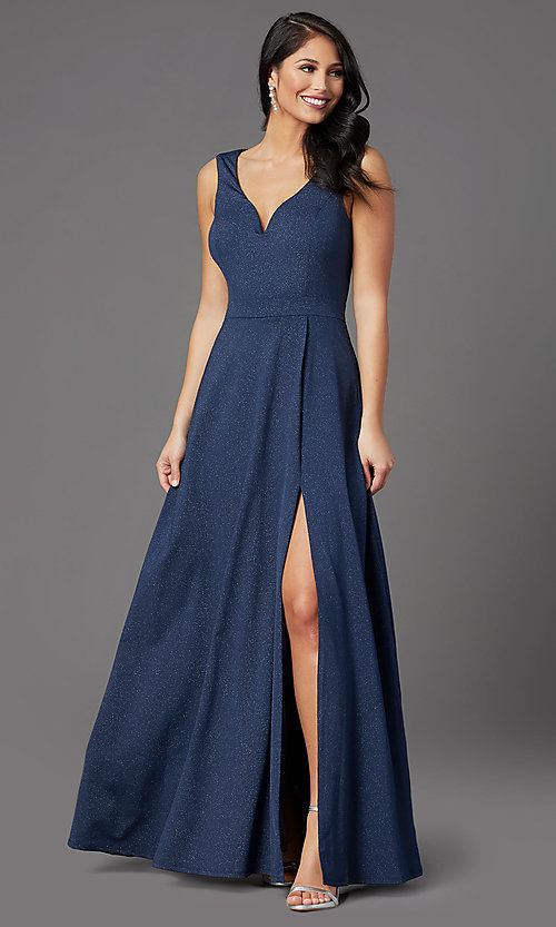 Image of faux-wrap glitter-knit navy formal long prom dress. Style: MCR-PL-2653 Detail Image 1