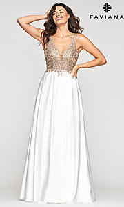 Image of long a-line v-neck prom dress with embroidery. Style: FA-10407 Front Image