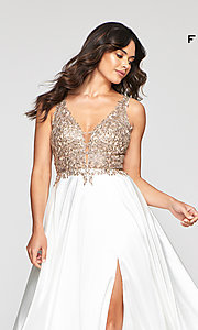 Image of long a-line v-neck prom dress with embroidery. Style: FA-10407 Back Image