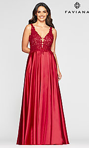 Image of long a-line v-neck prom dress with embroidery. Style: FA-10407 Detail Image 5