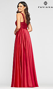 Image of long a-line v-neck prom dress with embroidery. Style: FA-10407 Detail Image 6