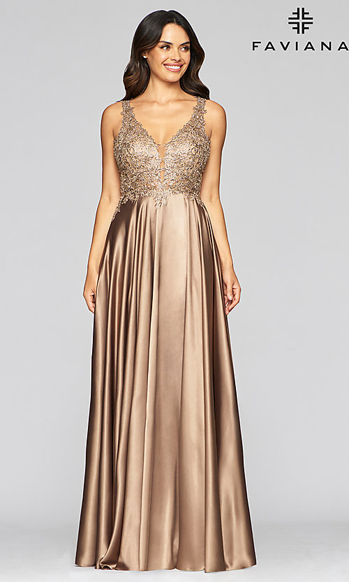 Image of long a-line v-neck prom dress with embroidery. Style: FA-10407 Detail Image 1