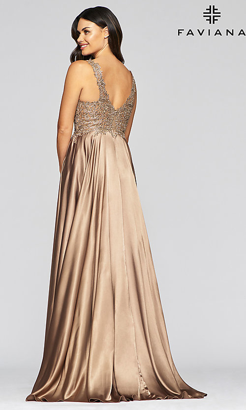 Image of long a-line v-neck prom dress with embroidery. Style: FA-10407 Detail Image 2