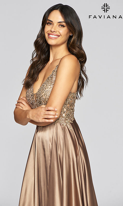 Image of long a-line v-neck prom dress with embroidery. Style: FA-10407 Detail Image 3