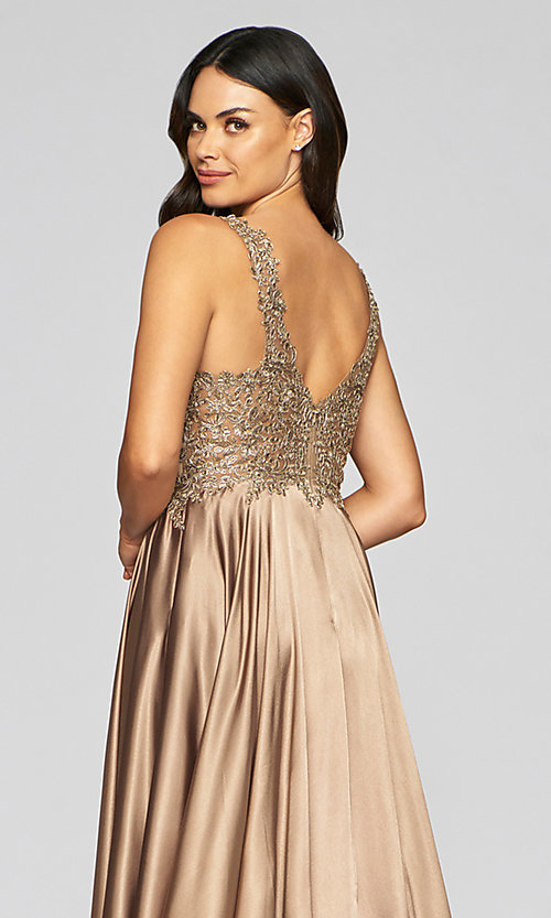 Image of long a-line v-neck prom dress with embroidery. Style: FA-10407 Detail Image 4