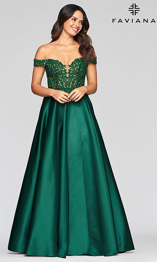 Image of off-the-shoulder Faviana prom dress with pockets. Style: FA-10422 Front Image