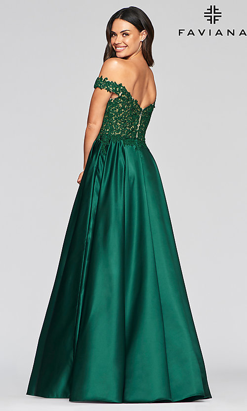 Image of off-the-shoulder Faviana prom dress with pockets. Style: FA-10422 Back Image