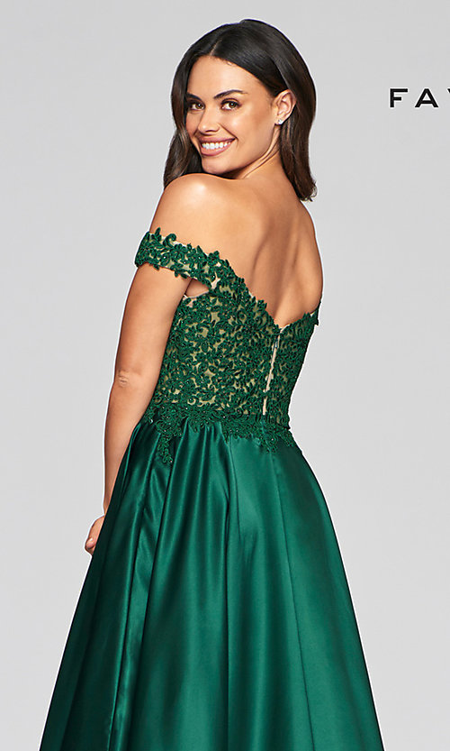 Image of off-the-shoulder Faviana prom dress with pockets. Style: FA-10422 Detail Image 2