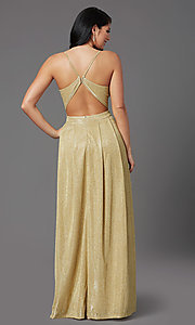 Image of glitter-knit long gold sparkly formal prom dress. Style: MCR-PL-2816 Back Image