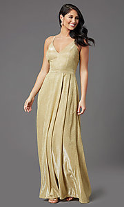 Image of glitter-knit long gold sparkly formal prom dress. Style: MCR-PL-2816 Detail Image 1