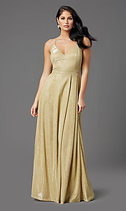 Image of glitter-knit long gold sparkly formal prom dress. Style: MCR-PL-2816 Front Image