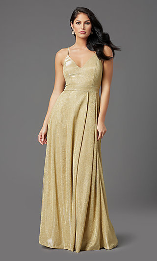 Glitter-Knit Long Gold Sparkly Formal Prom Dress
