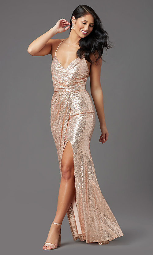 Image of long sequin sparkly formal prom dress in rose gold. Style: MCR-PL-2848 Front Image