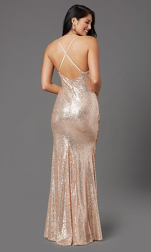 Image of long sequin sparkly formal prom dress in rose gold. Style: MCR-PL-2848 Back Image