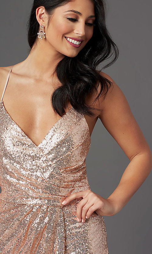 Image of long sequin sparkly formal prom dress in rose gold. Style: MCR-PL-2848 Detail Image 1
