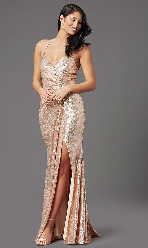 Image of long sequin sparkly formal prom dress in rose gold. Style: MCR-PL-2848 Detail Image 2