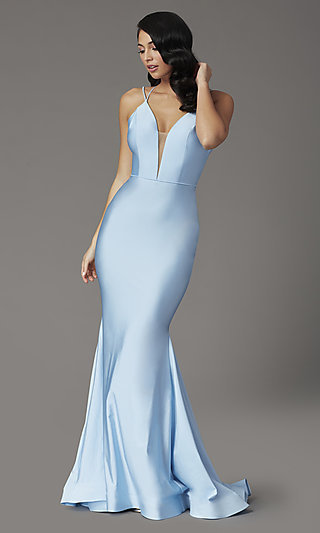 JVNX by Jovani Sky Blue V-Neck Prom Dress