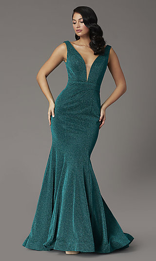 Emerald Green Metallic Glitter Long Prom Dress