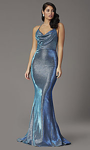 Image of JVNX by Jovani open-back long metallic prom dress. Style: JO-JVNX03026 Front Image
