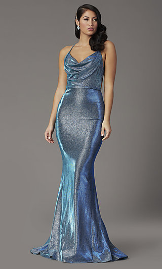 Open-Back Long Metallic Glitter Prom Dress