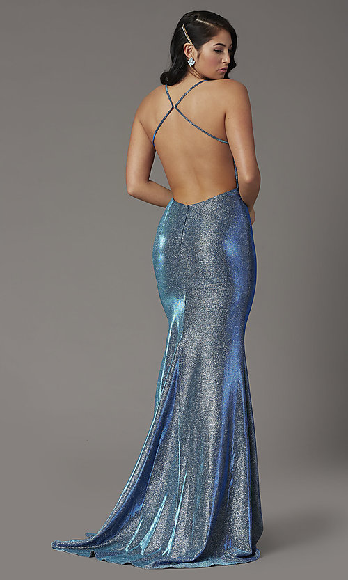 Image of JVNX by Jovani open-back long metallic prom dress. Style: JO-JVNX03026 Back Image