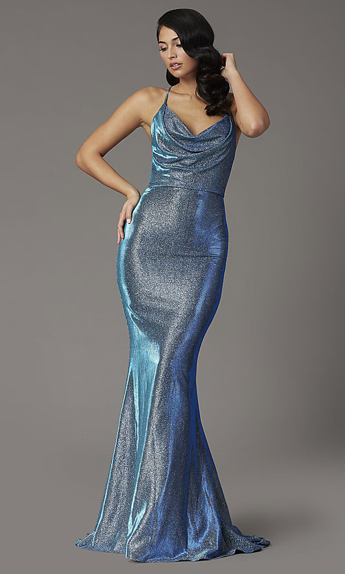 Image of JVNX by Jovani open-back long metallic prom dress. Style: JO-JVNX03026 Detail Image 2