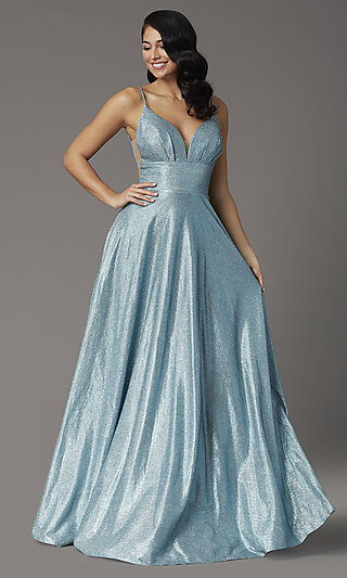 JVNX by Jovani Metallic A-Line Prom Dress