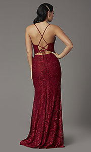 Image of JVNX by Jovani corset-back long lace prom dress. Style: JO-JVNX03041 Back Image