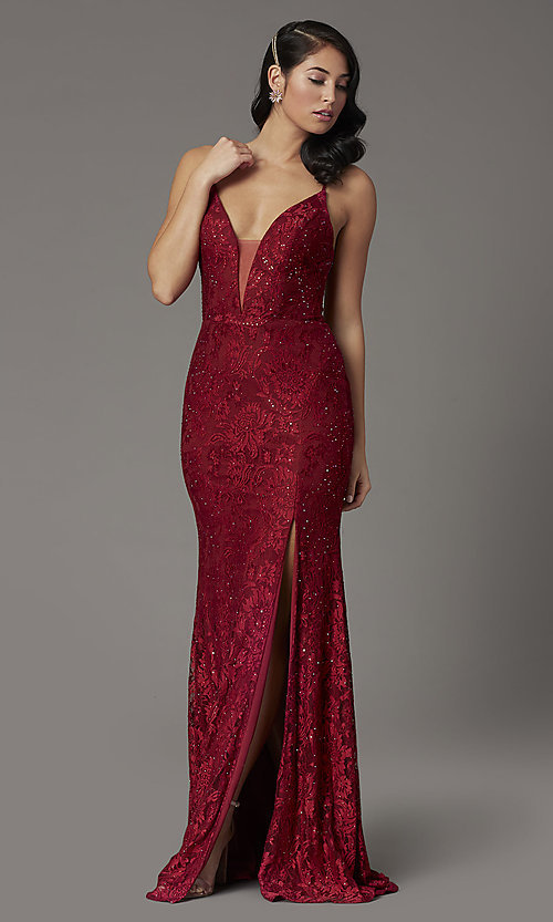 Image of JVNX by Jovani corset-back long lace prom dress. Style: JO-JVNX03041 Front Image