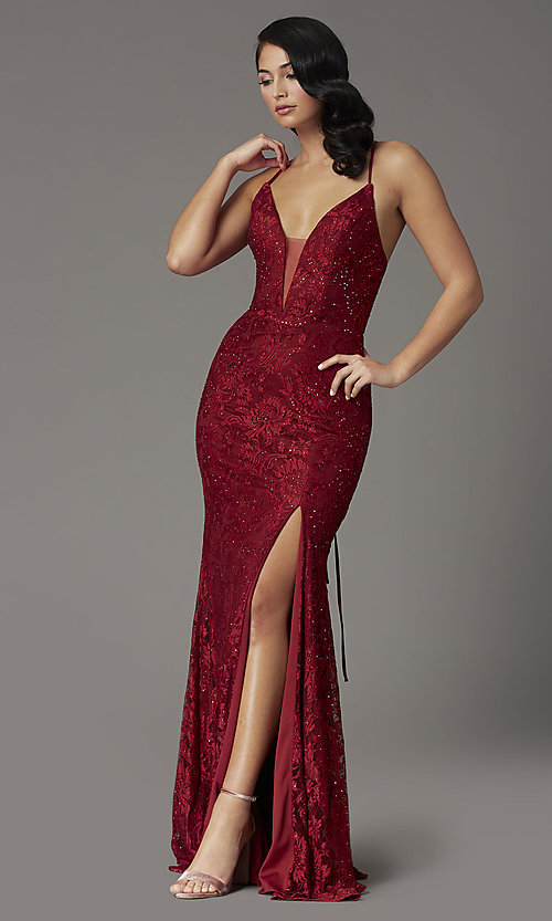 Image of JVNX by Jovani corset-back long lace prom dress. Style: JO-JVNX03041 Detail Image 2