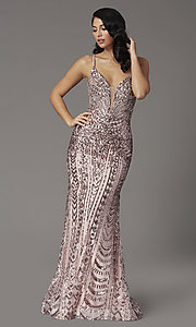 Image of sequin-embellished JVNX by Jovani long prom dress. Style: JO-JVNX03049 Front Image